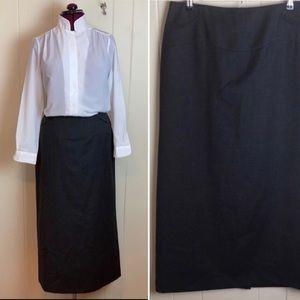 Harve Bernard Charcoal Grey Wool Maxi Skirt